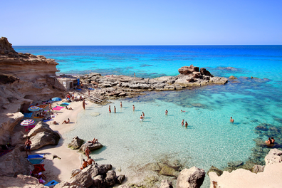 "Main view of ""Es calo d'es mort"" beach, one of the most beautiful spots in Formentera, Balearic Islands"