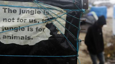 Welcome to the Jungle.<br>An estimated 6000 refugees and migrants currently call the makeshift camp in the French port city of Calais their home. (AP Photo/Markus Schreiber)
