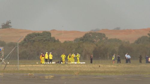 A plane has burst into flames at Wagga Wagga Aiport.