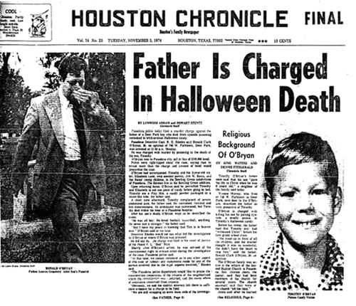 The Houston Chronicle reports on the news that Ronald O'Bryan is charged with the murder of his eight-year-old son Timothy.