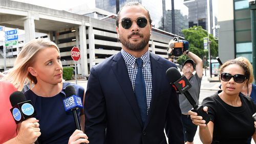 Karmichael Hunt leaves court after an earlier hearing. He will be hoping to resume playing rugby after seeing drugs charges against him dropped. Picture: AAP