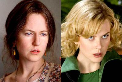 <B>Oscar winner:</B> <I>The Hours</I> (2002). Playing Virginia Woolf in the 1920s, Kidman did a remarkable job of becoming a believable substitute for the then-struggling author, bringing her neuroses and charm to life with equal flair.<br/><br/><B>Stinker:</B> <I>Bewitched</I> (2007).  It's hard to say how Our Nic managed the atrocity that was this performance. As Samantha, the beloved witch from a series so well-known, she managed to make sure no one would ever believe in magic again.