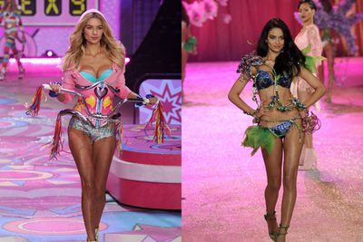 The Aussies took over in 2012, with Shanina Shaik and Jess Hart gracing the stage, Jess in a rather… interesting bicycle ensemble.