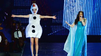 <p>Elsewhere, Taylor Swift took to the stage last night with Idina Menzel, the latest in her long string of guest appearances. </p><p>Swift dressed as Olaf the Snowman for the event and Menzel dressed as Elsa as the pair belted out Let it Go with 55,000 concert goers. (Instagram: @taylorswift)</p>