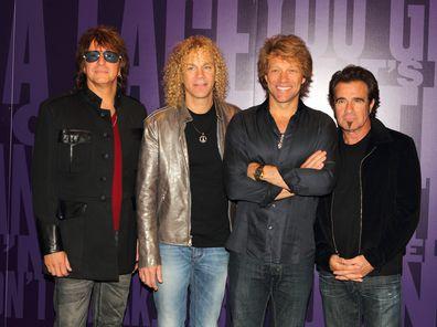 Richie Sambora, David Bryan, Jon Bon Jovi and Tico Torres attend the photocall to open exhibition celebrating 25 years of Bon Jovi on June 7, 2010 in London, England.