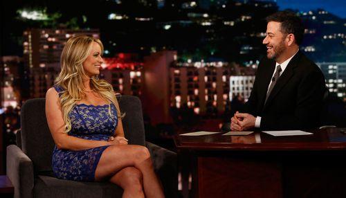 Stormy Daniels on talk show Jimmy Kimmel. (AAP)
