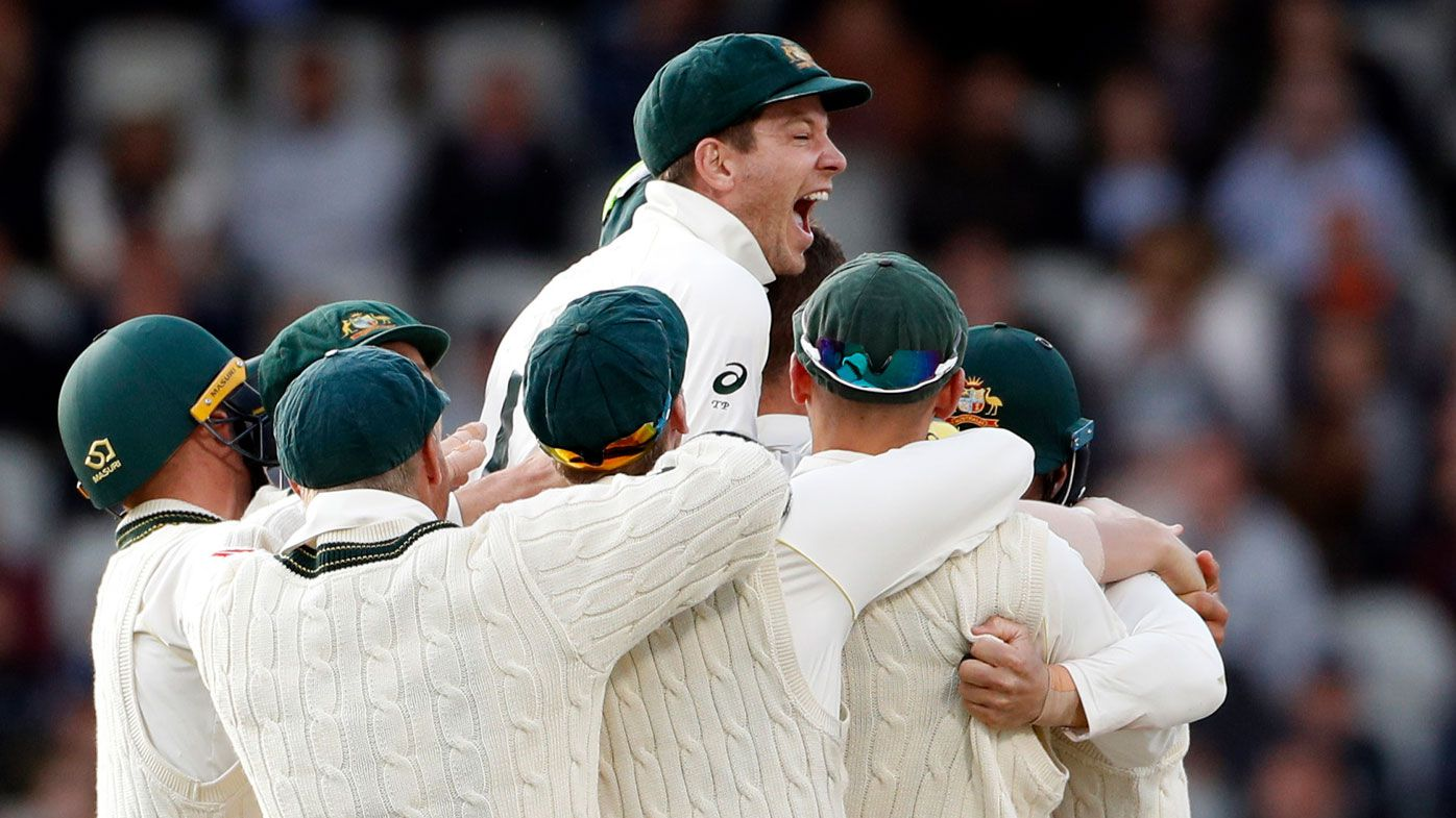 Paine and Australia celebrate retaining the Ashes.