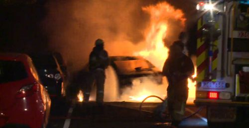 The man refused to exit the vehicle until it erupted in flames.