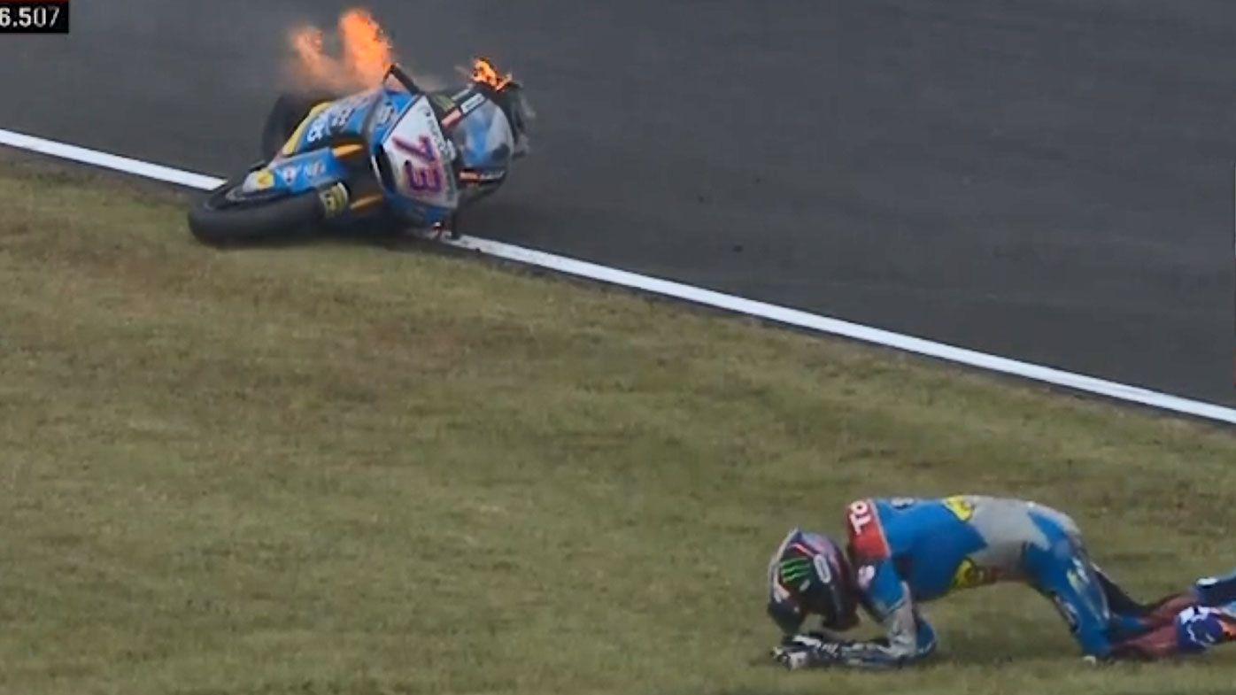 Terrifying MotoGP crash leaves bike engulfed in flames