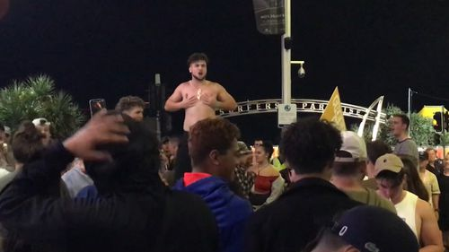 Some Schoolies attempted a haka. (Shellie Doyle)