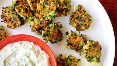 """Recipe: <a href=""""http://kitchen.nine.com.au/2016/05/17/12/00/zucchini-fritters-with-feta-mint"""" target=""""_top"""">Zucchini fritters with feta and mint</a>"""