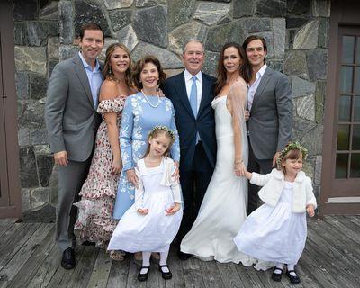 Barbara and Craig (left) pose with George W. Bush, Laura Bush, Jenna Bush Hager and the flower girls.