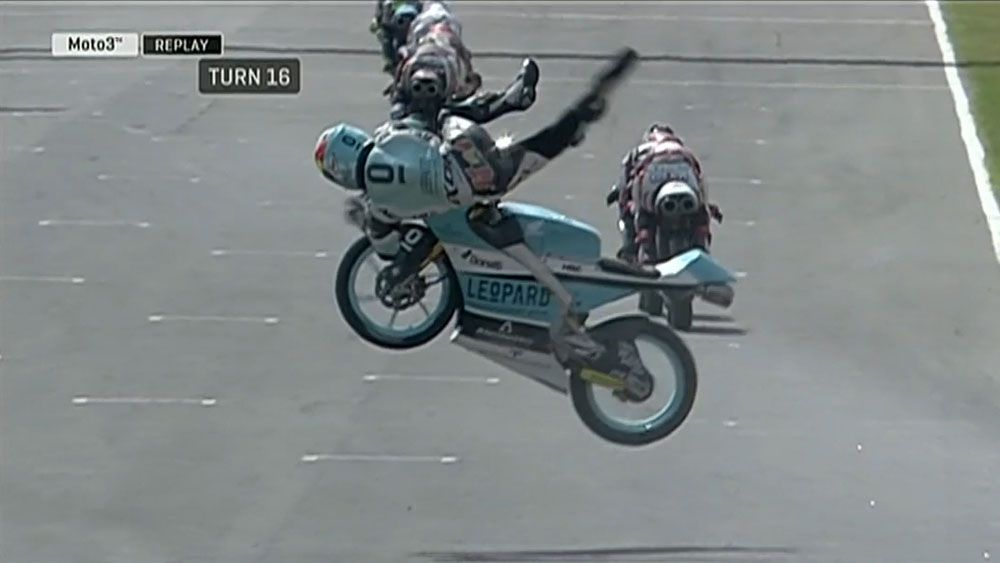 Moto3 rider Livio Loi walks away with broken collarbone after horror crash during qualifying at San Marino