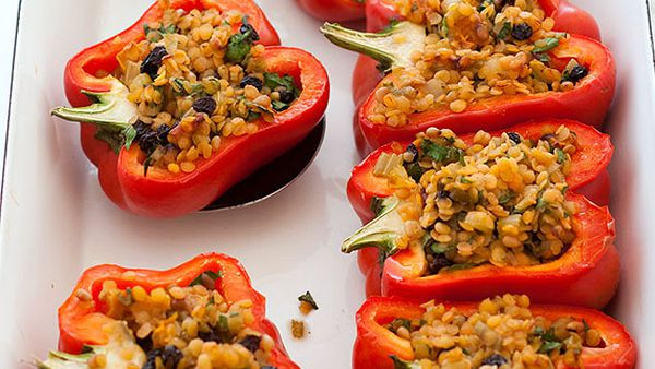 Roasted capsicum with lentil stuffing