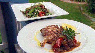"<a href=""http://kitchen.nine.com.au/2016/05/19/14/28/pork-cutlets-with-mediterranean-salad"" target=""_top"">Pork cutlets with Mediterranean salad<br> </a>"