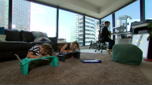 Up and away: Ms Coleman is raising her family in a two-and-half bedroom apartment in the heart of Melbourne. (9NEWS)