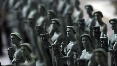 Finished Actor statuettes are displayed during the 25th annual Casting of the Screen Actors Guild Awards at American Fine Arts Foundry on January 15, 2019, in Burbank, California