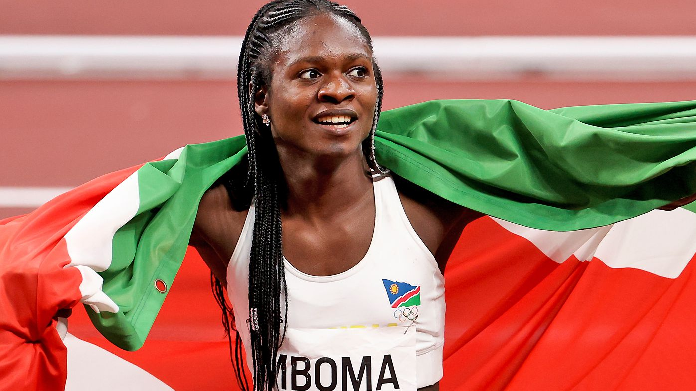 Silver Medalist Christine Mboma of Namibia celebrates following the Women's 200m Final