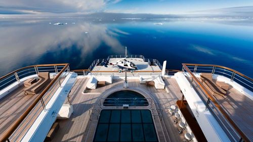 The yacht even boasts a glass-bottomed pool.