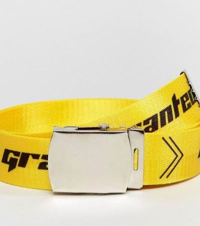 "Granted webbing belt $60 at <a href=""http://www.asos.com/au/granted/granted-webbing-belt-in-yellow/prd/8420061?clr=yellow&SearchQuery=beltelt&pgesize=36&pge=0&totalstyles=1022&gridsize=3&gridrow=9&gridcolumn=1"" target=""_blank"">Asos</a><br>"