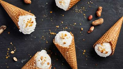 """Recipe:<a href=""""http://kitchen.nine.com.au/2017/01/04/14/53/banana-coconut-and-peanut-butter-ice-cream"""" target=""""_top"""">Banana, coconut and peanut butter ice-cream</a>"""