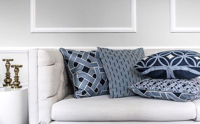 """From L-R: Oxford, Yves, Palm Springs and the Circles cushion range, <a href=""""http://www.gregnatale.com/collection/cushions-throws"""" target=""""_blank"""">Greg Natale Home</a>, <a href=""""http://www.myer.com.au/"""" target=""""_blank"""">Myer</a>"""