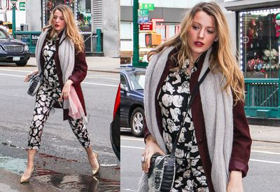 Blake's patterned onesie is perfect for jumping puddles in NYC.
