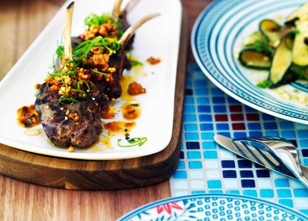 Char-grilled lamb with green chilli and sesame sauce