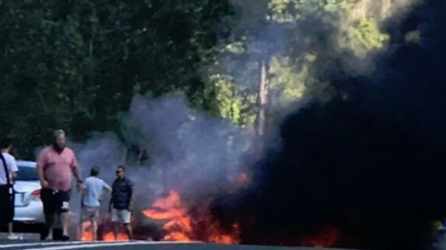 Multiple cars were involved in the fiery crash. (9NEWS)