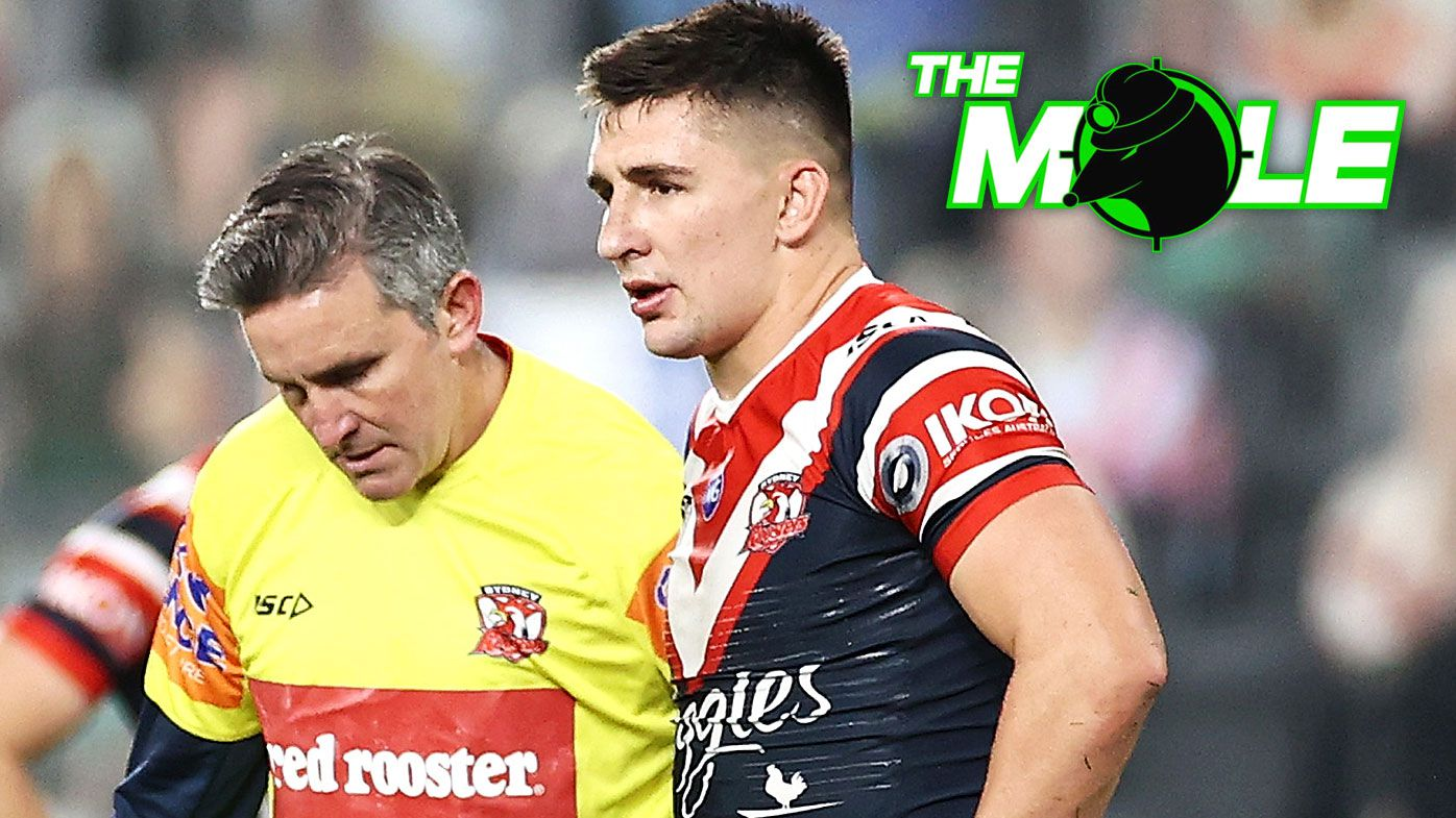 Victor Radley of the Roosters leaves the field with an ACL injury