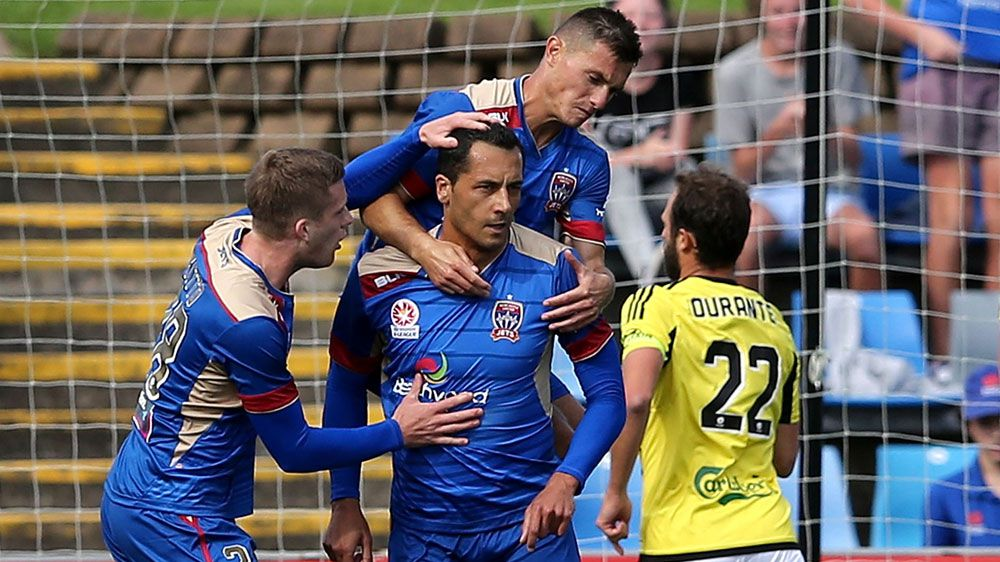 Newcastle team mates celebrate with Milos Trifunovic (AAP)