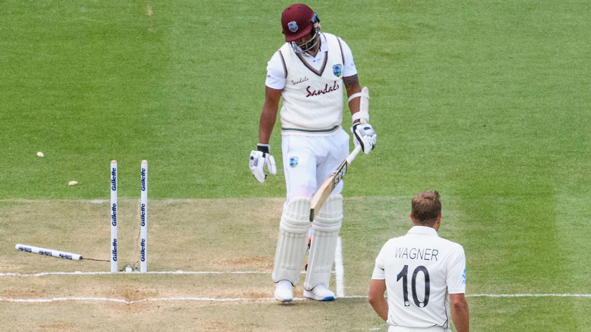Shannon Gabriel of the West Indies looks dejected after being dismissed by Neil Wagner of New Zealand.