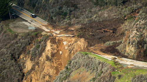 The view of Highway 1 on Friday, after a chunk of the roadway collapsed into the Pacific Ocean.