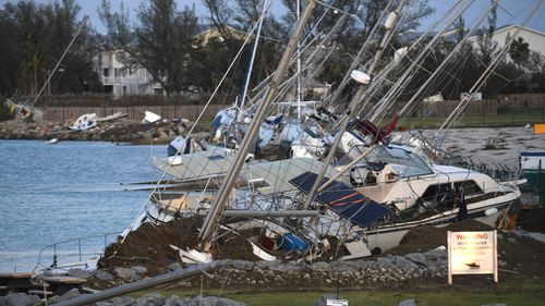 Damaged boats are shown in the aftermath of Hurricane Irma. (AAP)