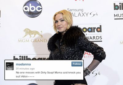 """Madonna's incessant need to remain relevant caused more than a bit of controversy in January this year, when she flippantly dropped the N-bomb in an Instagram photo of her son with the hashtag #disn----. <br/><br/>Her followers were quick to scold her on the racially offensive caption, so Madge replaced it with the hashtag """"#get off my d--- haters!"""" Lesson learned?"""