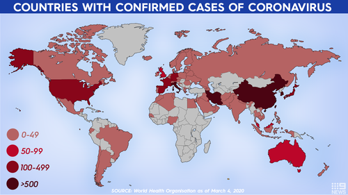 Countries with confirmed cases of coronavirus as of March 5.