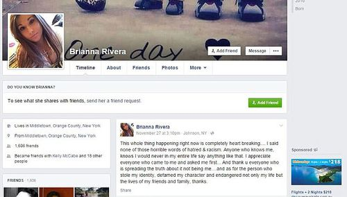Ms Rivera's real Facebook page and post addressing the vile messages. (Supplied)