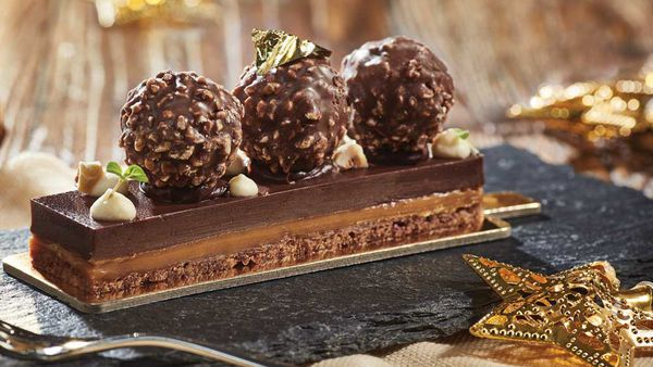The Rocher delight bar with salted caramel and hazelnut ganache by Reynold Poernomo for Ferrero