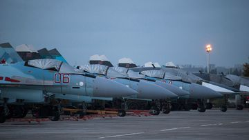 Russia's defense ministry said that the first group of warplanes stationed at the Russian air base in Syria has left for home following a pull out order from President Vladimir Putin. (AAP)