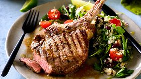 Beef rib eye with spicy quinoa salad