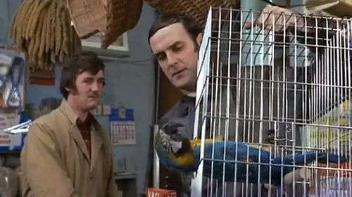 John Cleese (right) with Michael Palin in Monty Python's Dead Parrot sketch. (BBC)