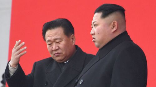 North Korean leader Kim Jong Un (R) and Choe Ryong Hae, vice chairman of the Workers' Party, attending a memorial service in Pyongyang to mark the fifth anniversary of the death of the country's second leader Kim Jong Il. (AAP)