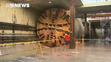 Tunnel machines reach new Perth Airport train station