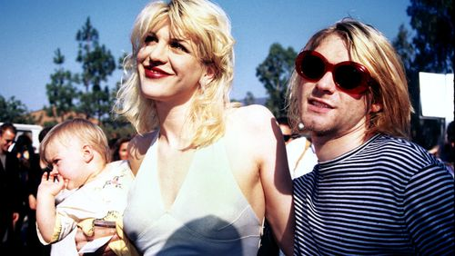Love and Cobain with baby Francis. (Getty)