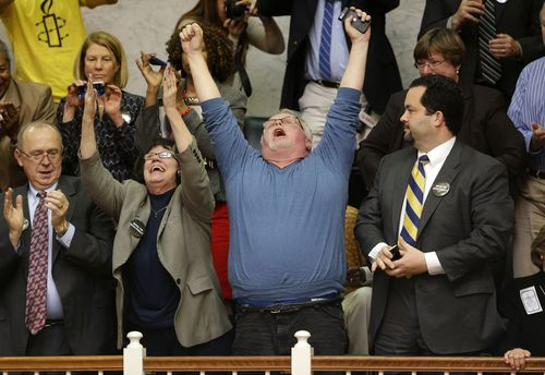 Kirk Bloodsworth, pictured celebrating the abolishment of the death penalty in Maryland in 2013, was the first American sentenced to death row who was exonerated by DNA.