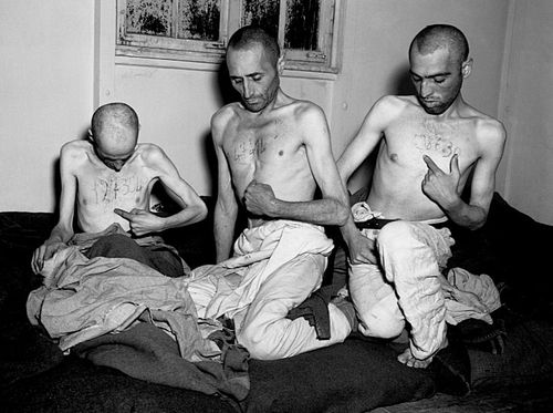 Prisoners from Buchenwald concentration camp after their liberation by US soldiers in 1945.