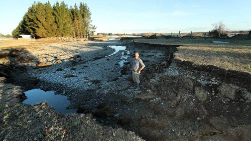 Milne discovered the massive hole on Sunday, after another stream was created but had nowhere to go except an old shingle pit on his Arundel farm, during persistent rain and flooding which forced the Timaru district into a state of emergency.