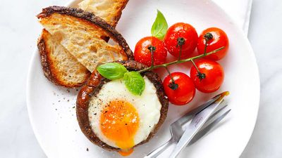 """Recipe: <a href=""""http://kitchen.nine.com.au/2017/04/10/10/17/portabella-mushroom-baked-egg"""" target=""""_top"""">Portabella mushroom baked egg</a><br /> <br /> More:<a href=""""http://kitchen.nine.com.au/2017/09/28/12/05/what-recipes-to-cook-when-youre-too-lazy-to-cook"""" target=""""_top""""> recipes for when you're too lazy to cook</a>"""