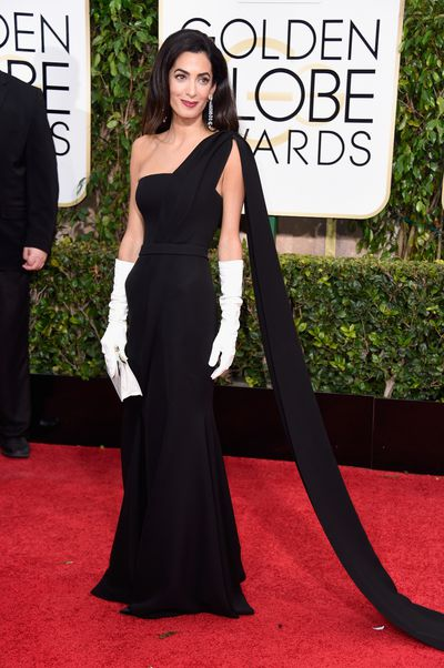Amal Clooney in Dior Haute Couture at the 2015 Golden Globes in Los Angeles