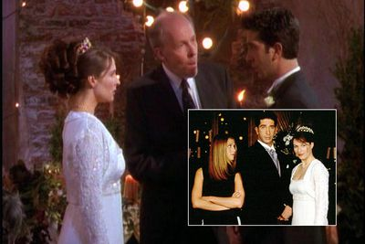 """<div align=""""left""""><B>When:</b> 1998<br/><br/>""""I, Ross… Take thee Rachel…"""" Okay, so it wasn't all that great for serial groom Ross (David Schwimmer) and his frosty British bride Emily (Helen Baxendale), but as if Ross dropping the wrong name wasn't the best <i>Friends</i> moment ever. Fun fact: the episode inspired the location for David and Victoria Beckham's wedding ceremony.</div>"""